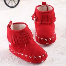 S942 Red/Pink Solid Cute Tassel Baby Girl's Boots soft sole Velcro baby Boots US