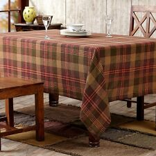 Kendrick Green Gold Red Plaid Burlap Cotton Country Kitchen Tablecloth