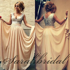 Plunging Cheap A-Line Women Prom Party Gowns Chiffon Champagne Evening Dress New