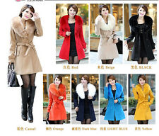NEW Women's slim winter warm coat long wool jacket outwear with belt SIZE:S-XXXL