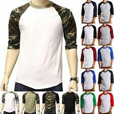 Baseball T-Shirts 3/4 sleeve Raglan tee jersey men's colored black navy blue red