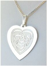 """0.95""""X1.3"""" Celtic Mother's Knot Heart Pendant, Silver, 16"""", 18"""" or 20"""" Chain NEW"""
