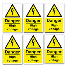 6 x Small Danger High Voltage Stickers Health and Safety Sign Electrical  #0220