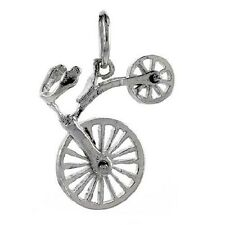 """Sterling Silver Movable Bicycle Pendant, Charm, 18"""" Italian Box Chain  #p3127"""