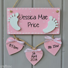 Baby birth details plaque Personalised baby gift and Birth Keepsake sign