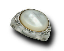 R.S.COVENANT Mother of Pearl Ring Silver Rhodium Plated