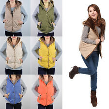 Autumn Winter Casual Vest Coat Thermal Coral Fleece Hood Hoodies Lady Jacket