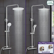 THERMOSTATIC SHOWER MIXER CHROME BATHROOM BATH UNIT TWIN HEAD ROUND OR SQUARE