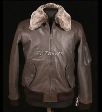 Pilot Brown Men's Classic A2 Bomber Fur Collar Winter Real Leather Flying Jacket
