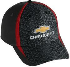 CHEVROLET HAT/CAP CHARCOAL GRAY/RED DIAMOND PLATE CHEVY EMBROIDERED BOWTIE NEW