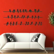 BIRDS SITTING ON POWER LINE WALL ART DECAL STICKER large removable vinyl Bi13