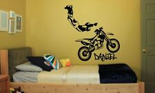 Kids Personalised Any Name Motorbike Motocross Bedroom Wall Art Decal Sticker