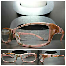 Women's RARE PINK CAMOUFLAGE Cool READING EYE GLASSES READERS Small Camo Frame