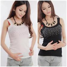 Womens Rhinestone Beaded Lace Stunning Vest Sexy Tank Top T-shirt Blouse Fashion