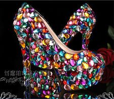 New candy color crystal wedding shoes nightclub rhinestone platform bridal shoes