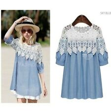 New Women's Fashion Denim Stitching Lace Loose Short-sleeve Slim Casual Dresses