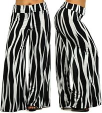 Plus Size Abstract Striped Wide Leg High Waist Fold Over Palazzo Lounge Pants