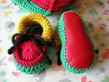 Rasta baby booties. Cotton. Hand crocheted by myself. Leather soles. 4 sizes.