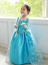 Girls Long Dress Child Costumes Disney Frozen Queen Elsa Fancy Dress 2-12 Years