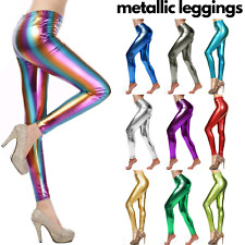 METALLIC LEGGINGS Shiny Tights Neon Lycra Stretch Sexy Party Costume Fancy Dress