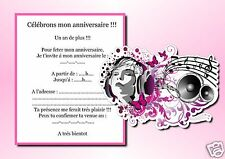 5 ou 12 cartes invitation anniversaire