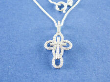 ".22ct Natural Diamond Cross Necklace I-J I2 925 Sterling Silver 16"" 18"" 20"" $650"