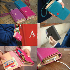 New Handy Womens PU Leather Purse Lady Long Handbag Wallet Case For Iphone 4S 5S