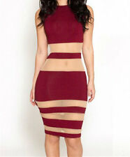 Women 2014 fashion Nude Illusion Mesh Bandage O-Neck Midi Dress LC6465 On sale