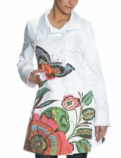 Desigual fitted WHITE trench jacket BUTTERFLY wrap flower coat floral celebrity