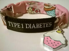 Diabetes alert bracelet CUPCAKE with charm TYPE1 or TYPE 2 in 3 adjustable sizes