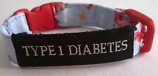 Diabetes alert bracelet SHABBY CHIC TYPE1 or TYPE 2 in 3 adjustable sizes