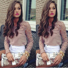 1PC Women Lace Crochet Embroidery Tops Long Sleeve Shirt Casual Blouse Lucky