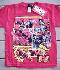 NWT Youth Marvel Mad Engine Heroes Thwip Wham Swoosh Red Shirt Various Sizes
