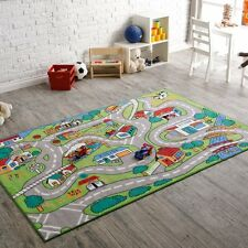 Country Kids Bedroom Area Fun Rug Play Time Road Driving Car Green Multi Size