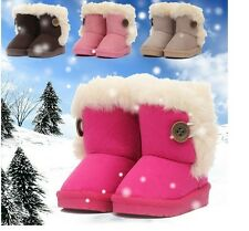 New Winter Warm Kids Girls Snow Cute Ankle Boots Mid-Calf Faux Fur Fleece Shoes