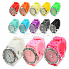 Children Girlfriend GIFT JELLY GIRLS GENEVA WOMEN LADIES CRYSTAL WATCH SILICONE