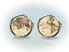 Vintage World Map Cufflinks - Gifts for Men
