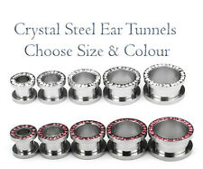 Steel Flesh Tunnel Crystal Screw Fix Ear Plug Double Flared Expander Stretcher