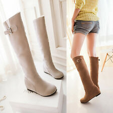 Women's Fashion Faux Suede Flats Heel Knee High Boots Shoes AU Size 2-8.5 A565
