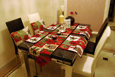 SET RARE RED CHRISTMAS POINSETTAS TAPESTRY CUSHION COVERS TABLE RUNNER PLACEMATS