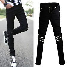 New Men's Casual Slim Fit Rivet Skinny Jeans Straight Pencil Pants Feet Trousers