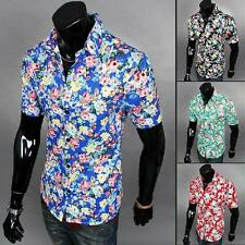 Mens Hawaiian Full Floral Shirts Slim Fit Beach Party Tee Shirt Tops Clothes