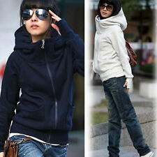 Korean Women's Zipper Casual Long-Sleeve Hoodie Sweatshirt Jacket Outwear Coat