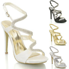 WOMENS BRIDAL STILETTO HIGH HEEL DIAMANTE PLATFORM LADIES PARTY SANDAL SHOES 3-8