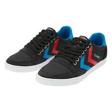 HUMMEL TRAINERS SLIMMER STADIL LOW MENS BLACK BLUE RED SHOES