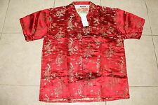 NWT shiny satin look dragon red button up shirts XL to 3XL