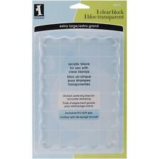 Inkadinkado Clear On Clear Acrylic Block with Centering Lines, Wavy Edges