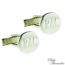 925 Sterling Silver Monogrammed Engravable Oval Cufflinks