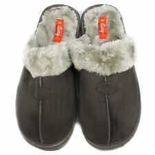 NEW! MEN'S HOUSE SLIPPERS WITH FAUX FUR - INDOOR OUTDOOR HOME - GRAY - S6288M-2