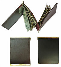Double Leather Money Clip With 2 Pockets For ID, Credit Cards - 2 Clips In One!